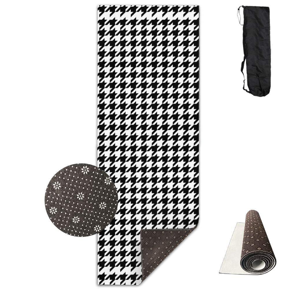 70inch Long 28inch Wide Comfort Velvet Yoga Mat, Houndstooth Black Mat Carrying Strap & Bag