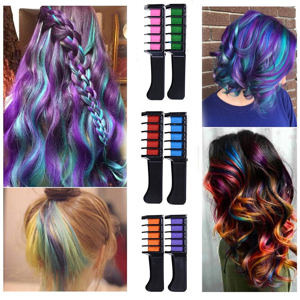 Zinnor Hair Chalk Comb, 6Pcs/Set Mini Disposable Personal Salon Use Hair Dye Comb Professional Crayons For Hair Color Chalk Hair Dyeing Tool Washable Hair Chalk for Hair Dye-Non-toxic Safe for Kids by Zinnor (Image #2)