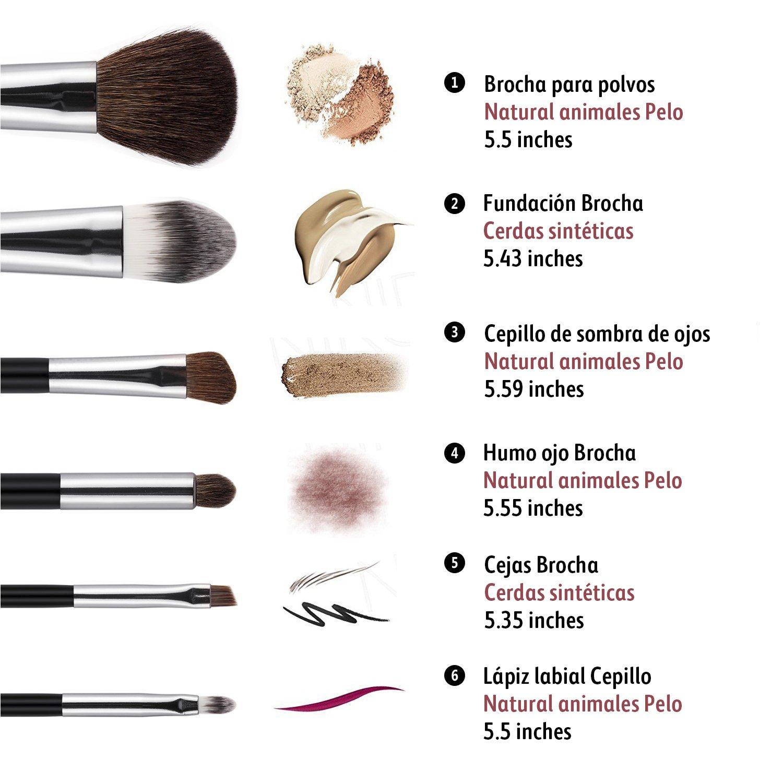 Hfun Brochas de Maquillaje Profesional Pinceles de Maquillaje con Colorete Sombra de Ojos Cejas Pestaña y Labios 6 pcs (6 pcs): Amazon.es: Belleza