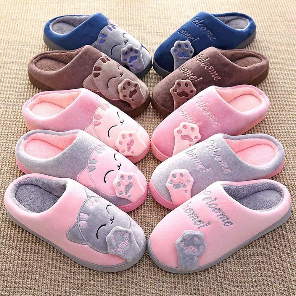 Amazon.com | Women Slippers Men Plush Cute House Slipper Cute Cat Warm Winter Indoor Home Slippers | Slippers