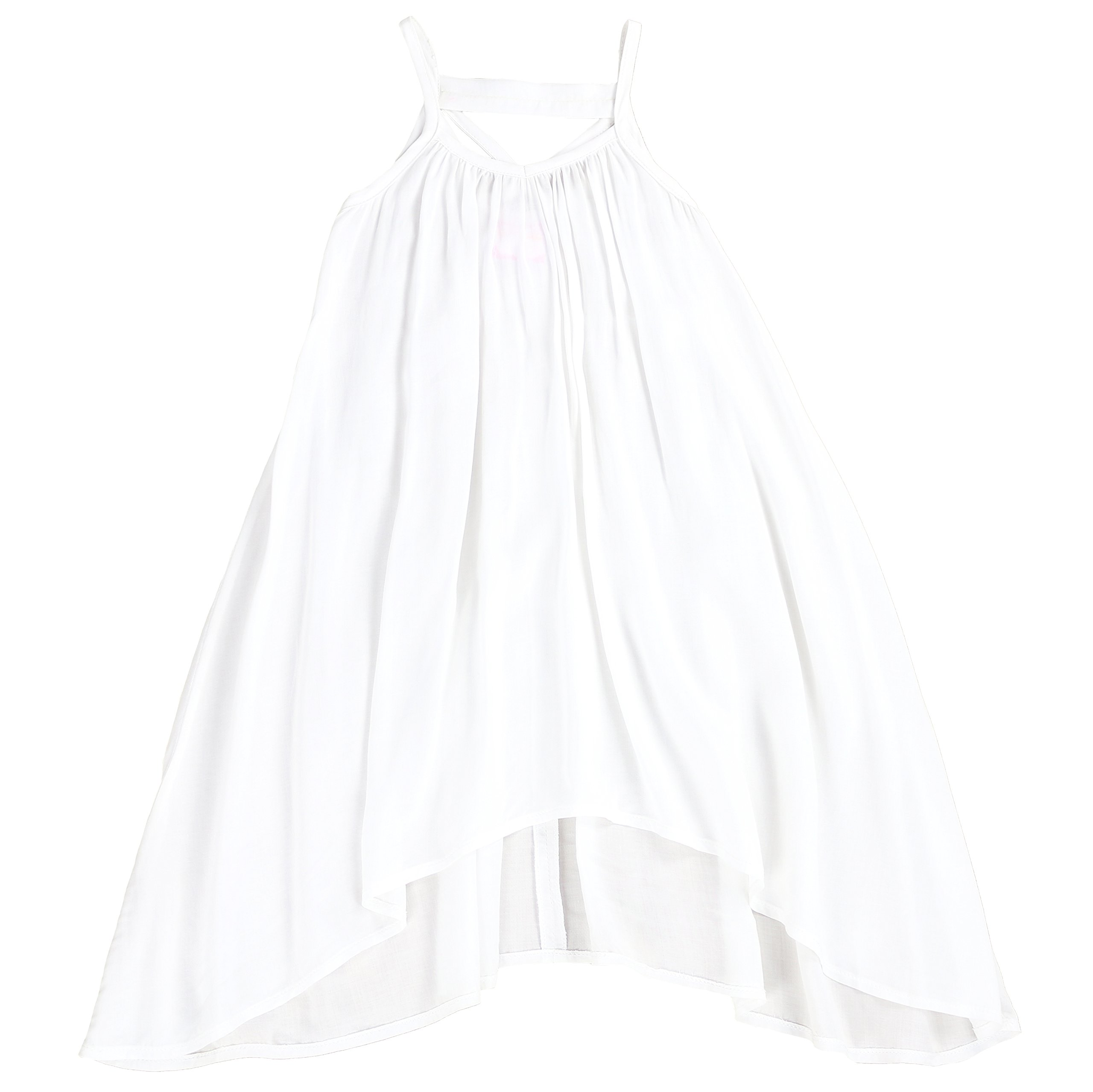 LELEFORKIDS - Toddlers and Girls Light Cotton Asymmetric Swing Away Dress in Beach White 3T