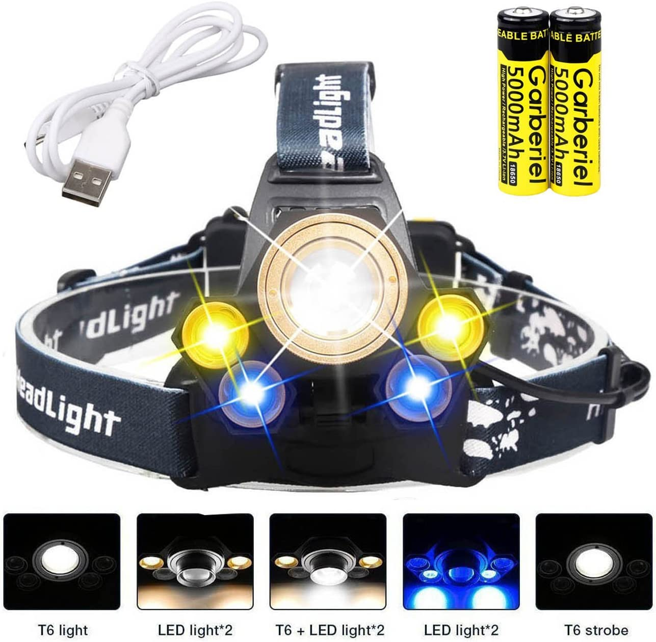 Batteries included Garberiel 5 Modes USB Rechargeable Waterproof Headlamp 5000 Lumen Super Bright Zoomable Flashlight Camping Riding Hiking LED Headlight Fishing