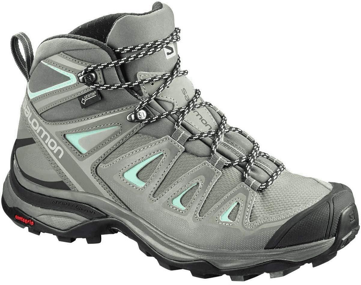 Salomon Women's X Ultra 3 Mid GTX Hiking Boots, SHADOW/Castor Gray/Beach Glass, 9 by SALOMON