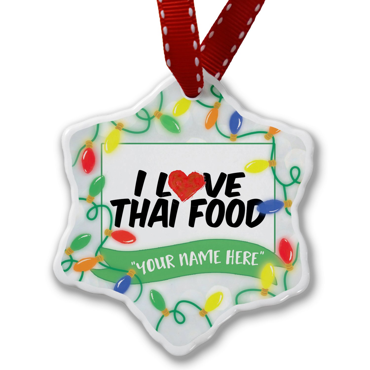 Personalized Name Christmas Ornament, I Love Thai Food NEONBLOND