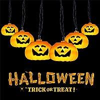 Cadena Luces de Calabaza de Halloween, GlobaLink Cadena Luces 3,5M 20 Calabazas LED, Guirnalda Luces Exterior…