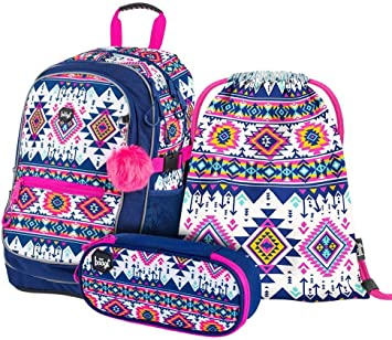 Klasse Schultasche ab 3 Schulrucksack Set M/ädchen 3 Teilig Ergonomischer Schulranzen Skate Ska Grundschule Ranzen mit Brustgurt