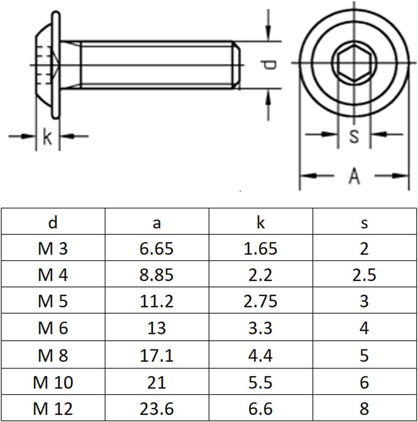 100 St/ück |Innensechskant ISK ISO 7380 Linsenkopfschraube Flansch M3x3 | Vollgewinde Linsenschrauben rostfreier Edelstahl A2 V2A Flachkopfschrauben BiBa-Schrauben