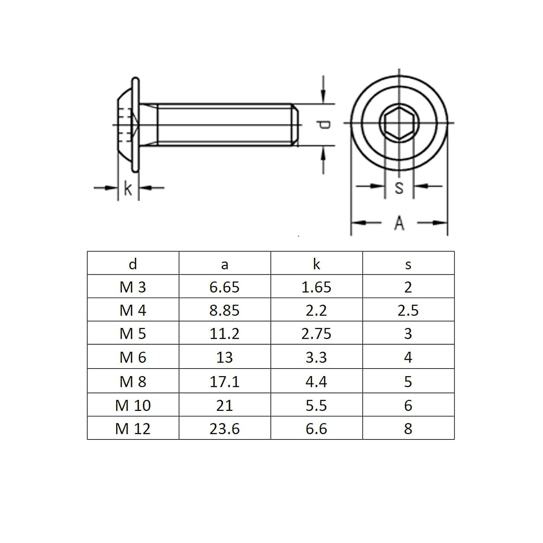 rostfreier Edelstahl A2 V2A |Innensechskant ISK ISO 7380 Flachkopfschrauben Linsenkopfschraube Flansch M10x90 | Vollgewinde BiBa-Schrauben 10 St/ück Linsenschrauben