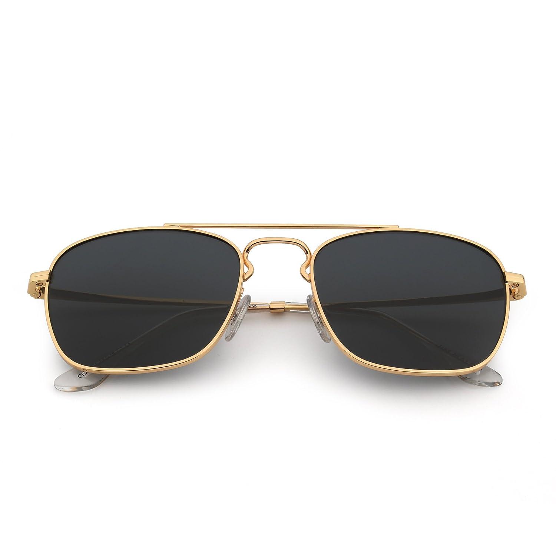 Jim Halo Gafas de Sol Retro Aviador Cuadradas Lente de Vidrio de Alta Calidad Plano Metal Anteojos Hombre Mujer