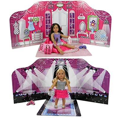 "18 "" Doll Play Scene Backdrop by Sophia's, serves as a Doll House for American Doll Furniture. Perfect for 18 Inch American Girl Dolls, Barbie, Teddy Bears and More! Reversible Doll Fashion Runway & Doll Bed Room Pla"