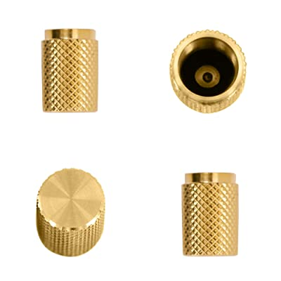 Divoti Precision CNC Machined Stainless Steel Tire Air Valve Caps, Wheel Tyre Stem Covers for Cars - Heavy-Duty, Airtight Seal, Textured Design, Screw-On, Dust-Proof - 2 Pairs - Gold: Automotive