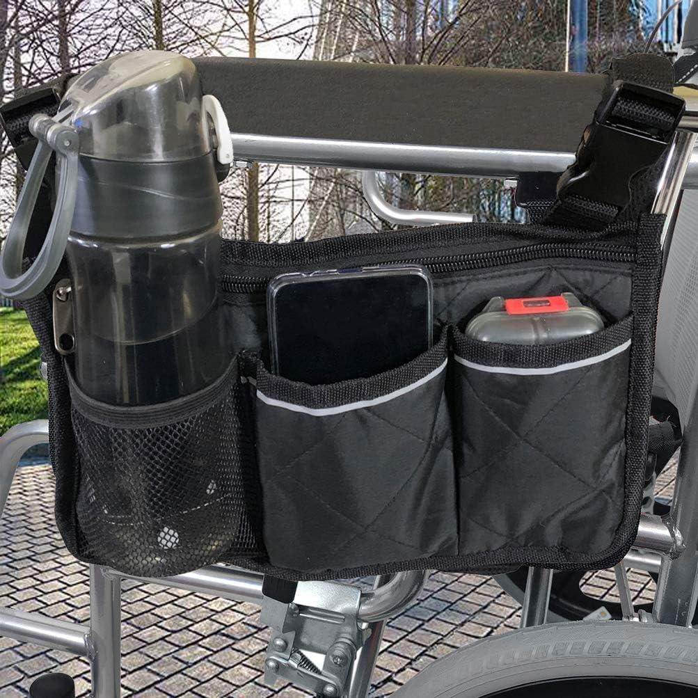 Bolsas para Silla de Ruedas - Organizador Accesorios Silla de Ruedas, Bolsa de Scooter de Movilidad con Hebilla Ajustable, Portátil de Movilidad Impermeable con 6 Bolsillos, Negro(Versión Mejorada)