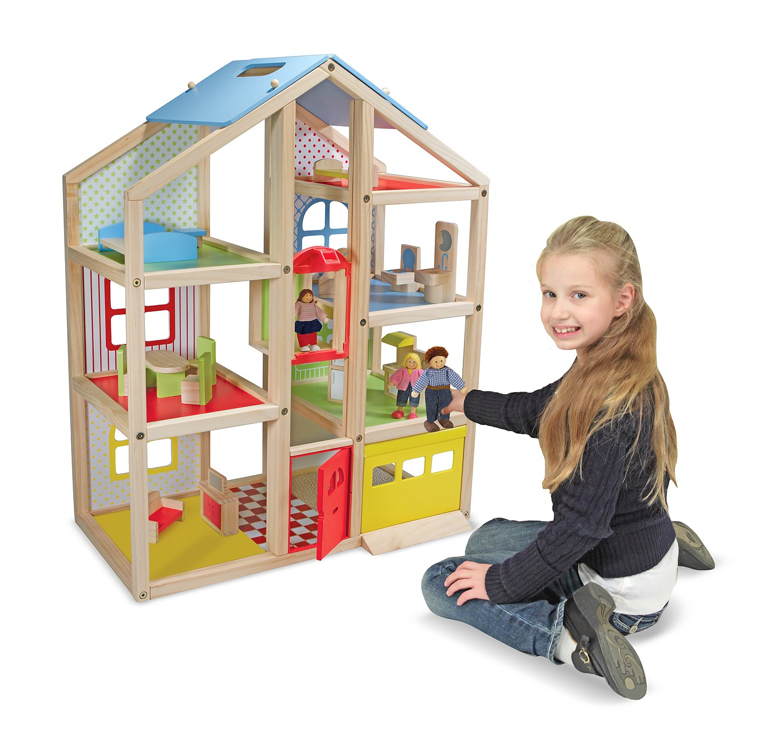 cheap wooden dollhouse furniture. Melissa \u0026 Doug Hi-Rise Wooden Dollhouse With 15 Pcs Furniture - Garage And Working Elevator, Dollhouses Amazon Canada Cheap