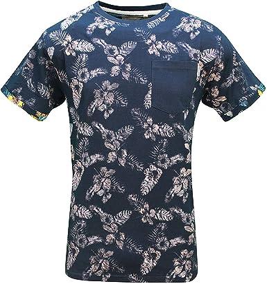 Soulstar Hombre floreane inversa del Revés Estampado Camiseta Manga Corta - Azul Marino, Talla -S- 36-38