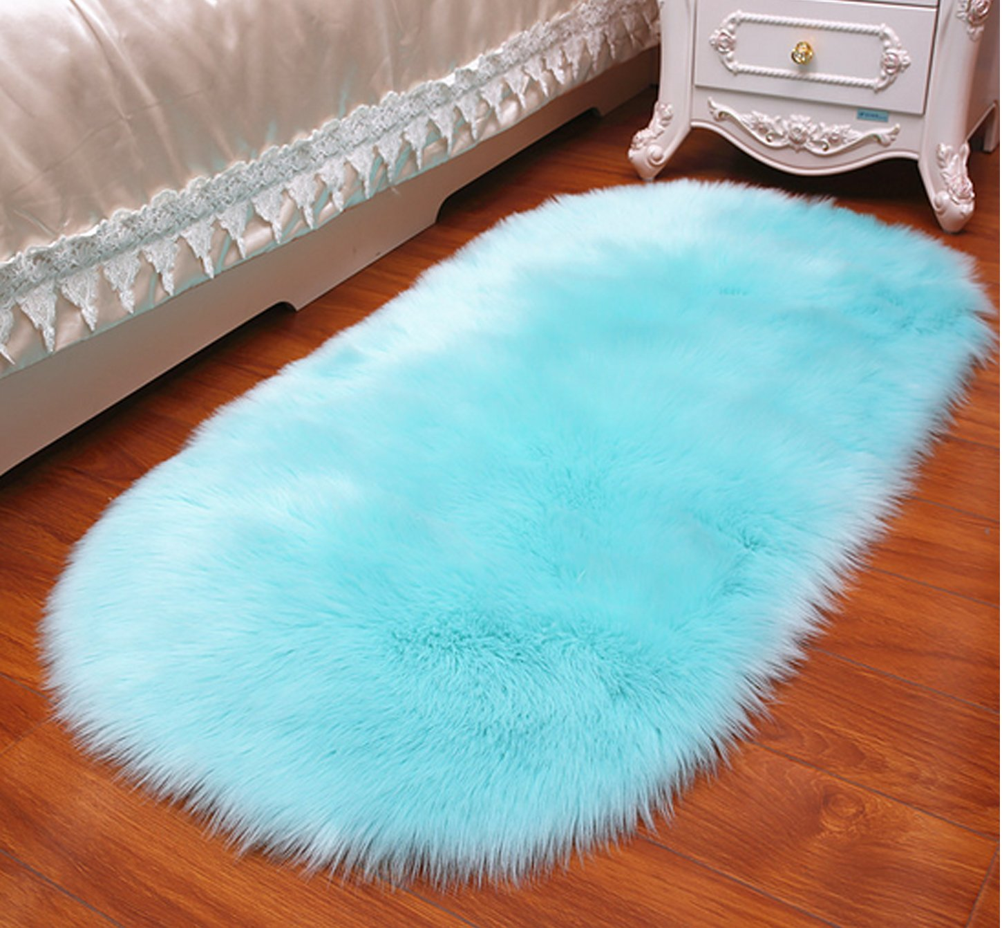 Faux Fur Rug Shag Fuzzy Fluffy Sheepskin Rug Kids Carpet Area Rug for Home Decor Living Room Bedroom 4×2.5ft,Blue