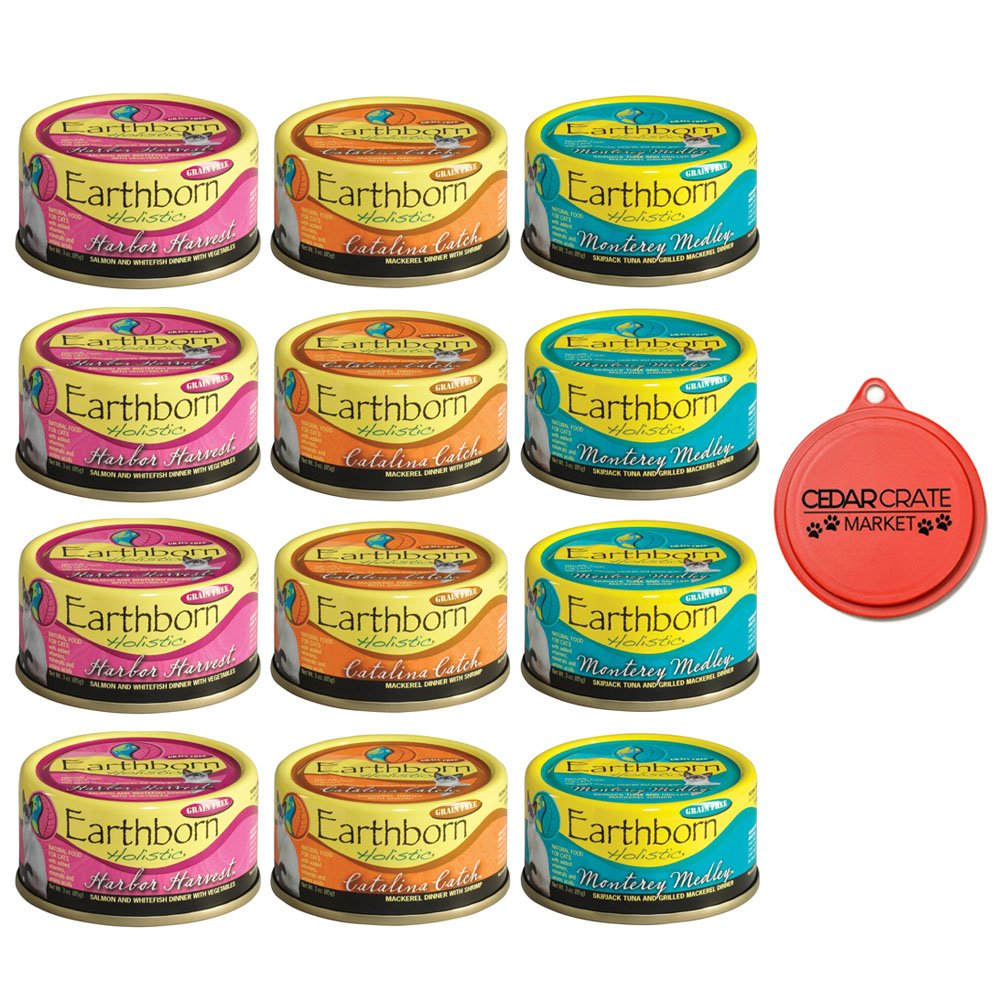 Earthborn Holistic Wet Cat Food Variety Pack 3 Flavors (Catalina Catch, Harbor Harvest, e Monterey Medley) 3 Ouces Ognuna (12 Total Can) e Can Topper