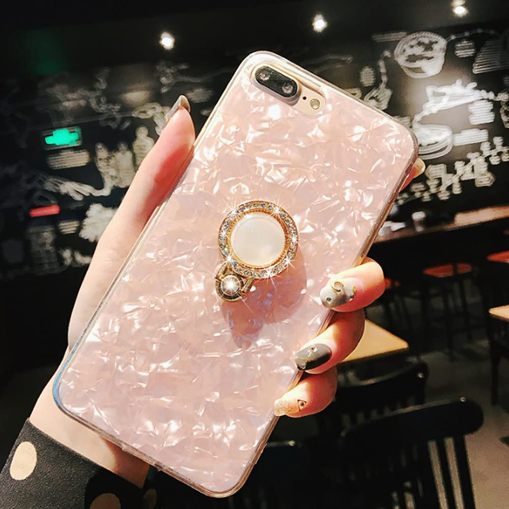 iPhone 8 Plus Case,iPhone 7 Plus Case,Seashell Pattern Soft TPU Shock-Absorption Crystal Bumper Case with Bling Diamond 360 Degree Rotating Ring Grip Holder Kickstand for iPhone 8/7 Plus(Pink)