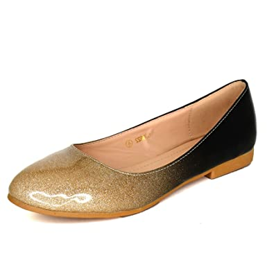 Ladies Glitter Ombre Flat Ballet Pumps Patent Ballerina Shoes Dolly Slip on size