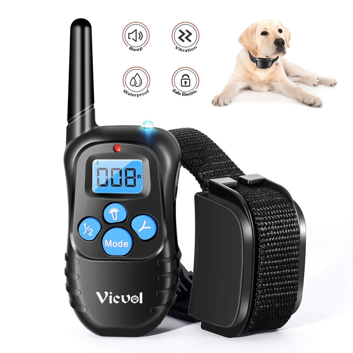 Vicvol Dog Training Collar Rechargeable Rainproof 330 yd Remote Dog Training Shock Collar -Vibration, Vibra Shock Electronic Collar,Shock and Tone with Backlight LCD
