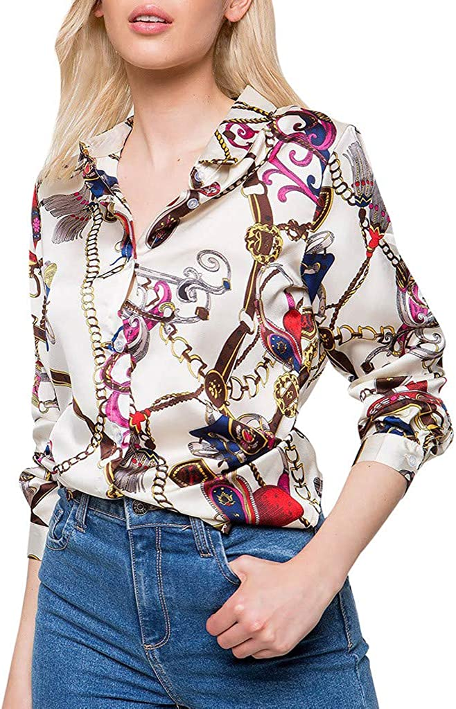 TIFENNY Women's Long Sleeve Vintage Print Shirt Spring Casual t Shirt Tops Lapel Button V Neck Blouse Tee