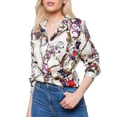 5b6e784ea5a93a CHshe FashionWomens Tops Long Sleeve Button Down Chain Print Blouses V Neck  Casual Chiffon Shirts (L, Beige): Amazon.co.uk: Clothing