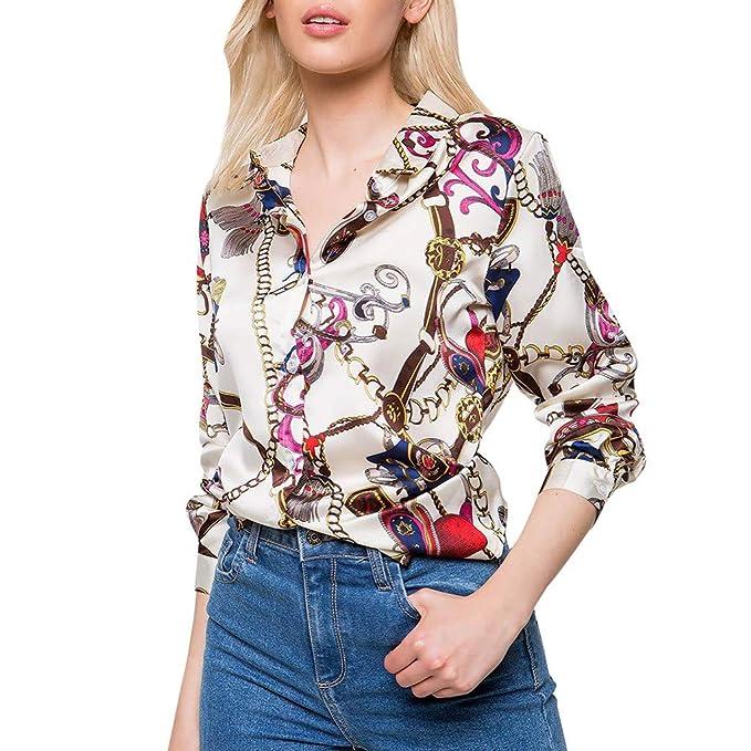 Camisa Casual de Manga Larga con Estampado de Cadenas de Gasa Delgada y  Elegante Estampado de Moda para Mujer Sexy Casual Oficina Cuello en v Blusa  Tops T ... b6df5c5c40d2