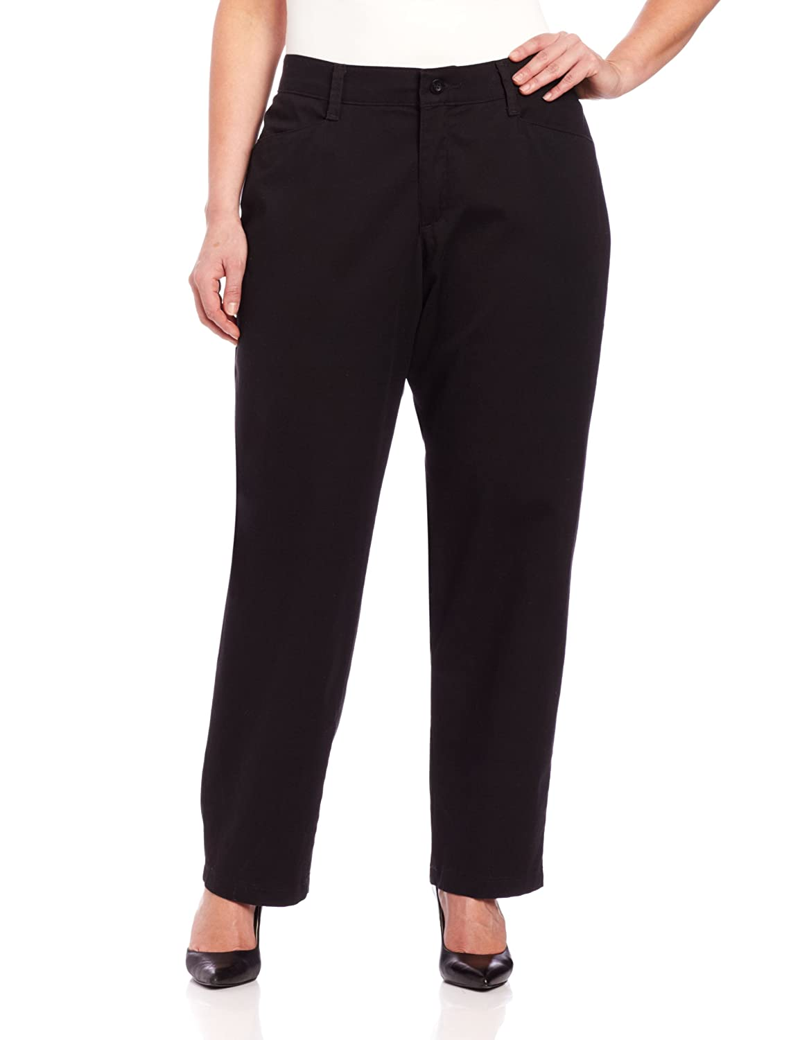 LEE Women's Plus Size Relaxed Fit Plain Front Straight-Leg Pant 30w)