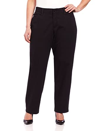 b7cb364b Lee Women's Plus-Size Relaxed Fit Plain Front Straight Leg Pant, Black, 22W