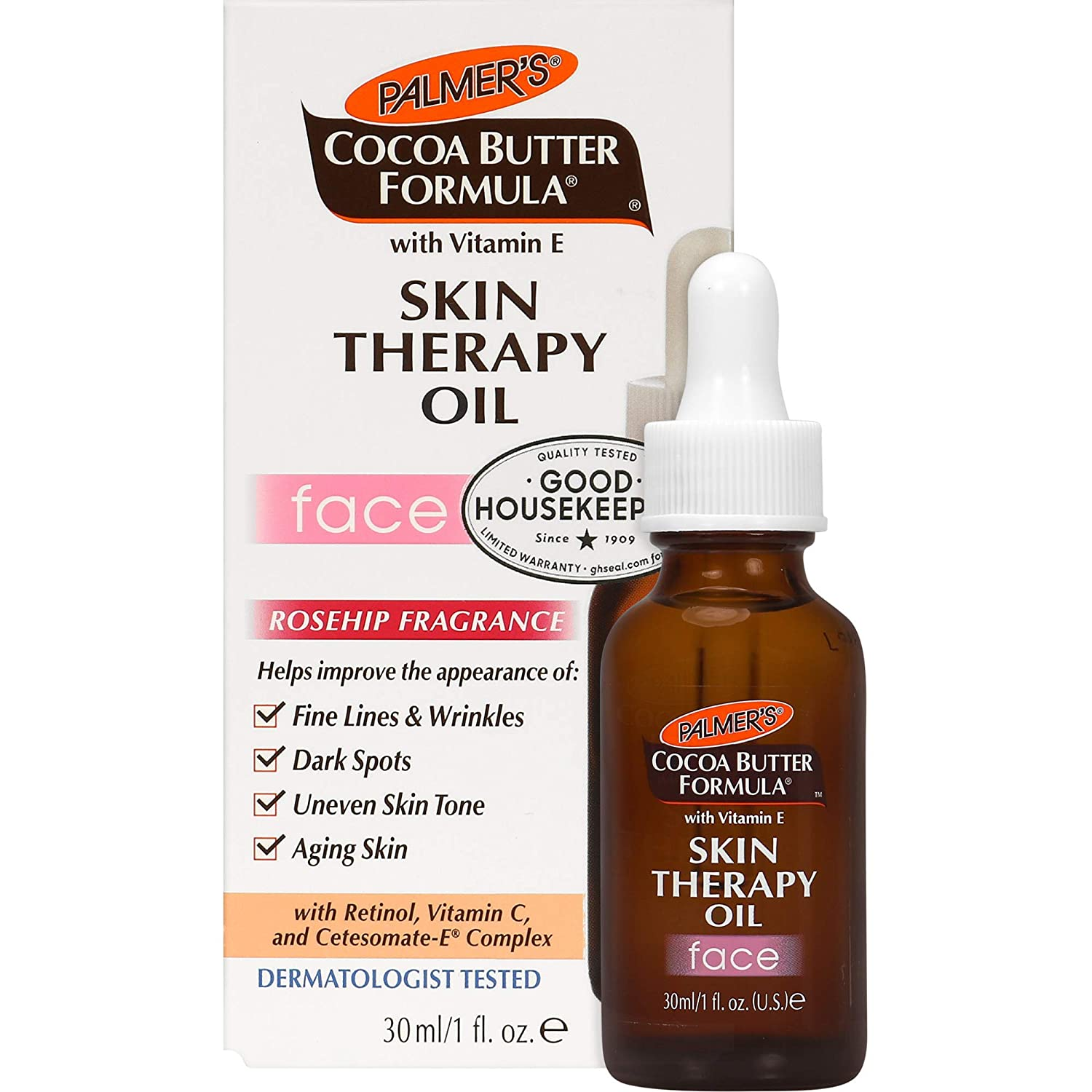 Palmer's Cocoa Butter Formula Moisturizing Skin Therapy Oil for Face with Vitamin E, Rosehip Fragrance, 1 Ounce: Beauty