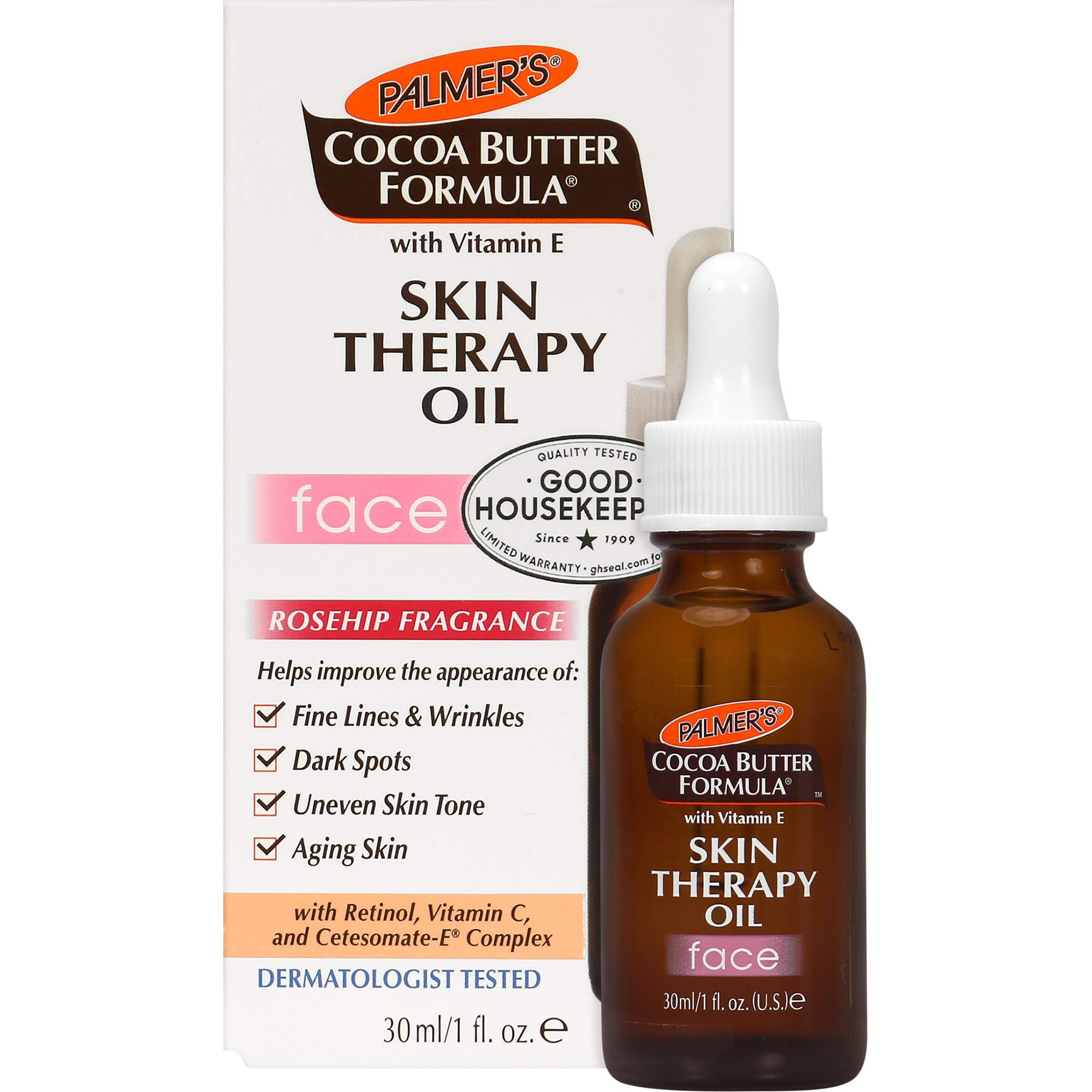 Palmer's Cocoa Butter Formula Moisturizing Skin Therapy Oil for Face with Vitamin E, Rosehip Fragrance ,1 Fl Oz (Pack of 1)