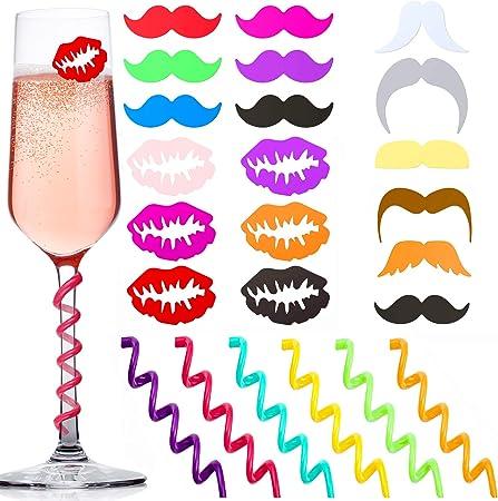 YAVO-EU 18pcs Segnabicchiere da Vino Mark Silicone per Bicchieri Marcatore Riutilizzabile per Feste