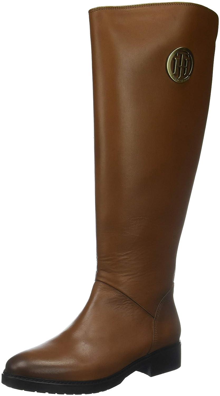 Tommy Hilfiger Damen Basic TH Stiefel, Riding Boot Leder Hohe Stiefel, TH Braun (Cognac 606) f06627