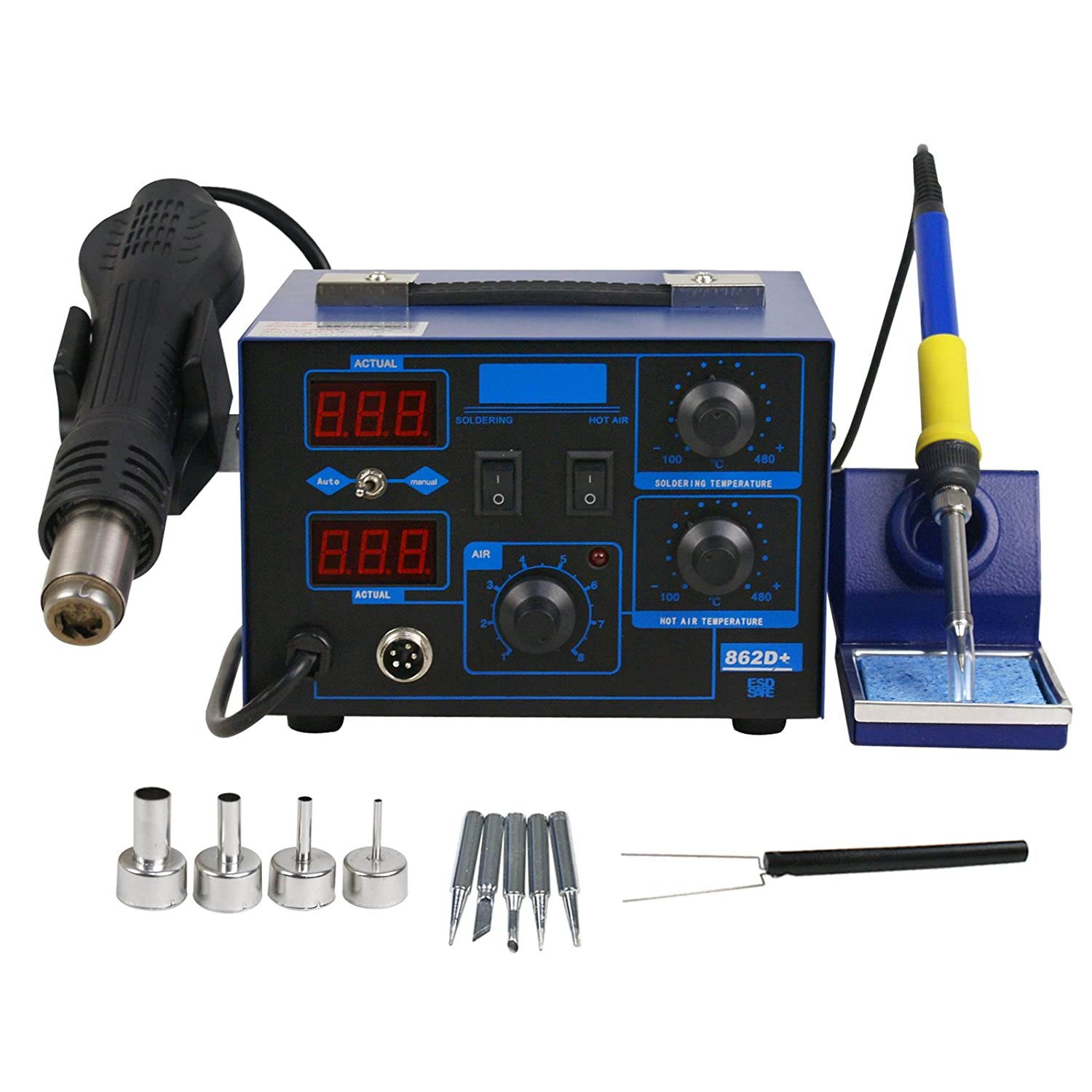 2in1 862d Smd Hot Air Rework Station Soldering Iron Led And Holders This Helps Me To Hold The Circuit Board While Display W 4 Nozzle 110v New Version