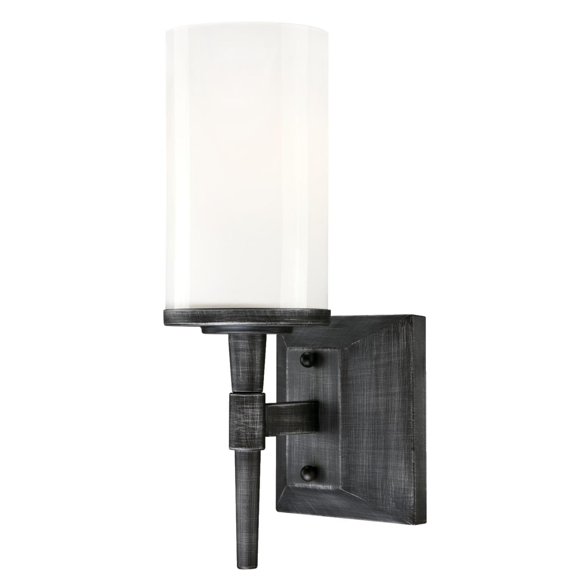 Westinghouse 6325000 Courtfield One-Light Indoor Wall Fixture, Distressed Aluminum Finish with White Opal Glass
