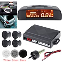 Rivelatore radar Epathchina Universal car auto kit di parcheggio monitor, 4 sensori di allarme spia di retromarcia di backup radar System, Full distanza display LCD digitale (nero)