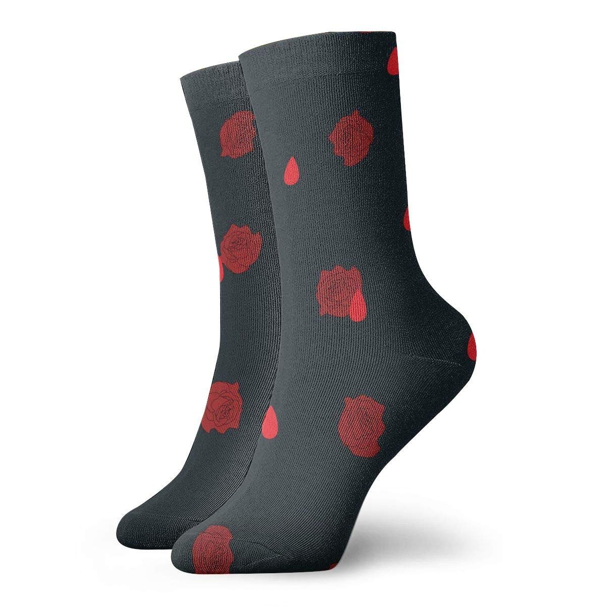 TAOMAP89 Flowers and Blood Drops Pattern Compression Ankle Socks for Women and Men Short Boot Socks Baseball Best for Soccer Athletic