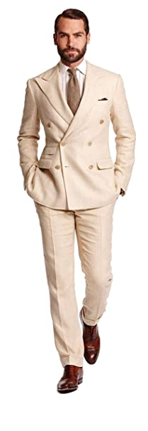 Mens Linen 2 Piece Wedding Suits Slim Fit Groom Tuxedos ...