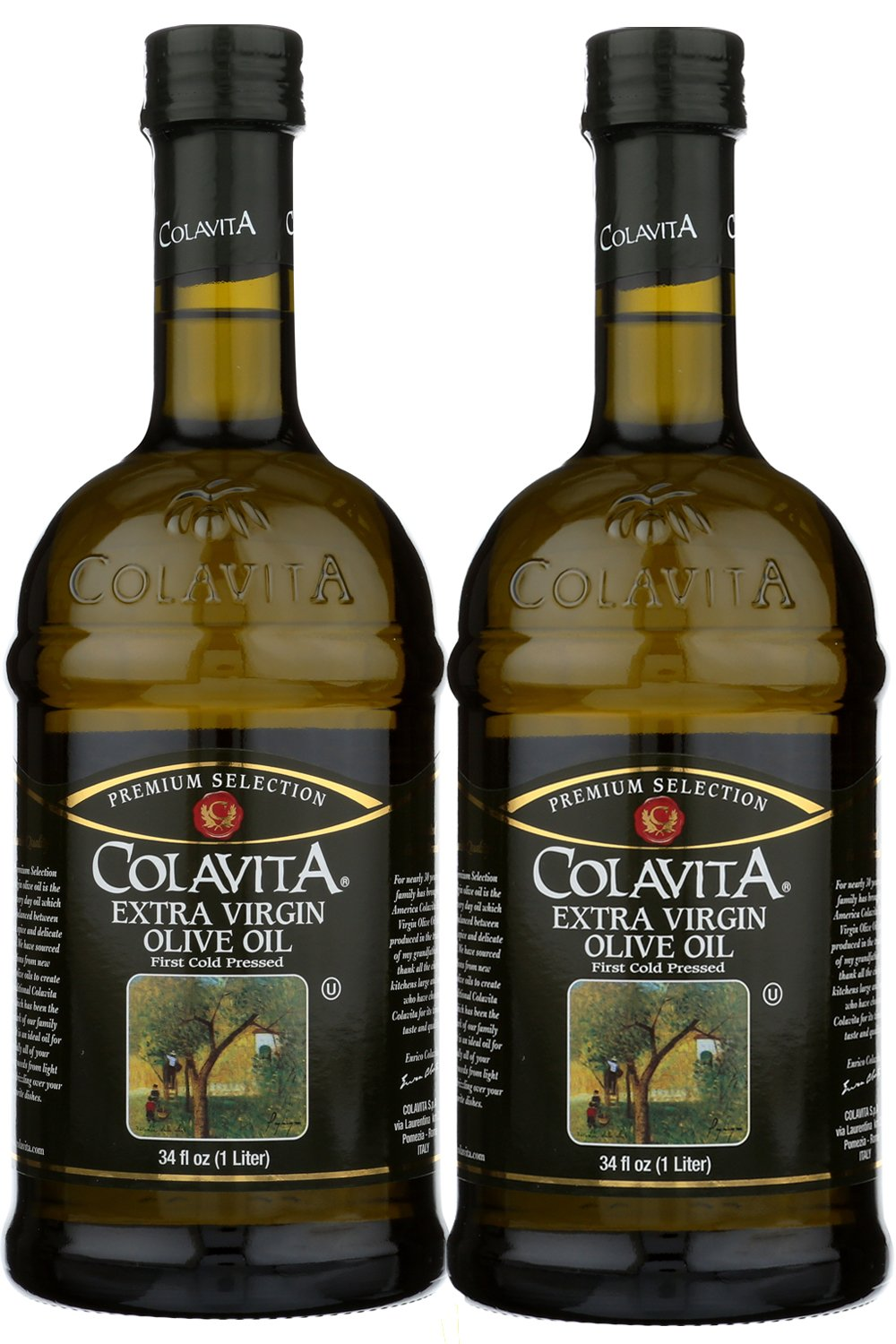 Bundle-2 Items : Colavita Extra Virgin Olive Oil, 34-Ounce Glass (Pack of 2) by Colavita