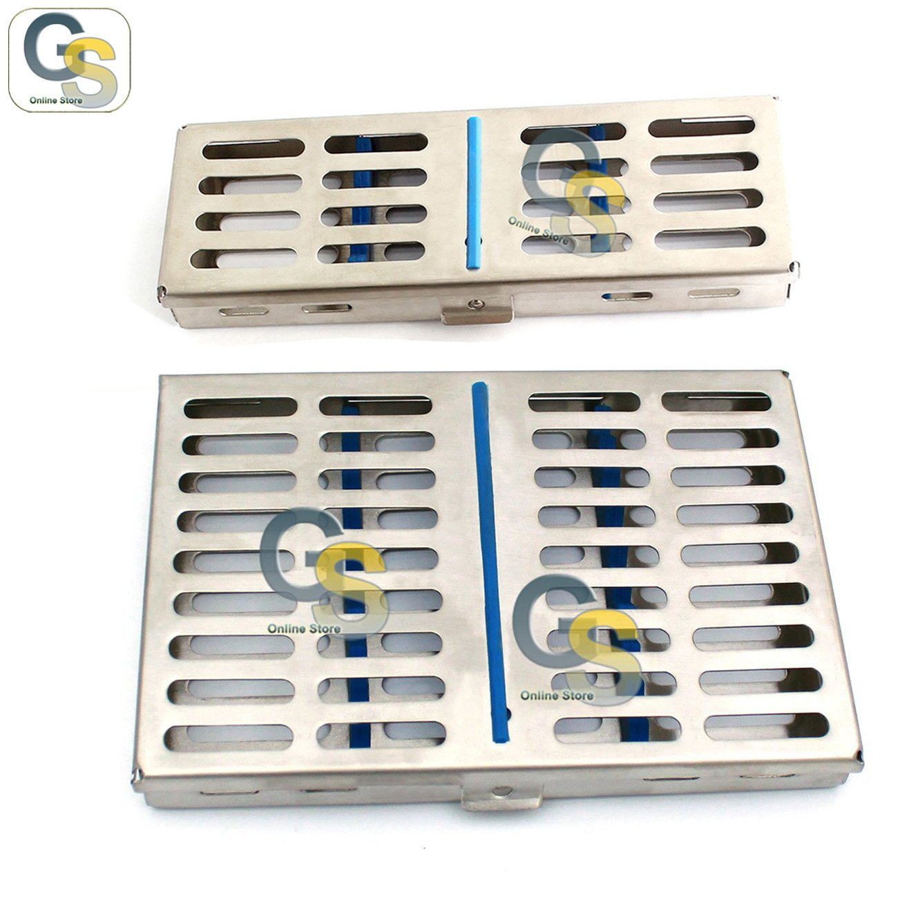 G.S 2 STAINLESS STEEL STERILIZATION CASSETTE BOX TRAY FOR 5 AND 10 INSTRUMENTS by G.S SURGICAL