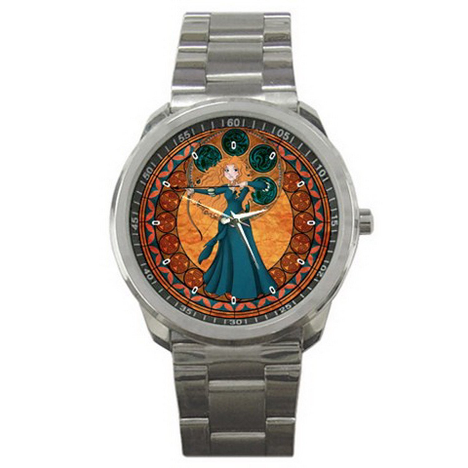 1STG007 brave disney Cartoon Stained Glass Men Women sport Watch