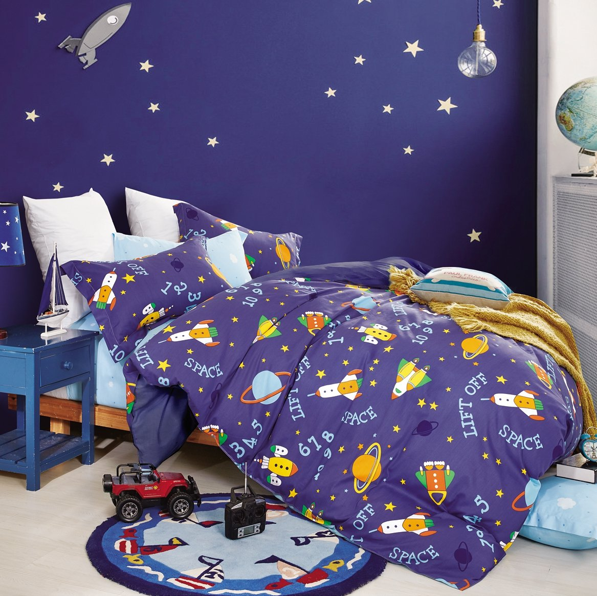 Colorful Cosmos Rockets Planets Spaceship Stars Boys Bedding Twin or Queen Duvet Cover Set 100% Cotton Galaxy Outer Space Room for Kids Bedroom (Queen, Blue
