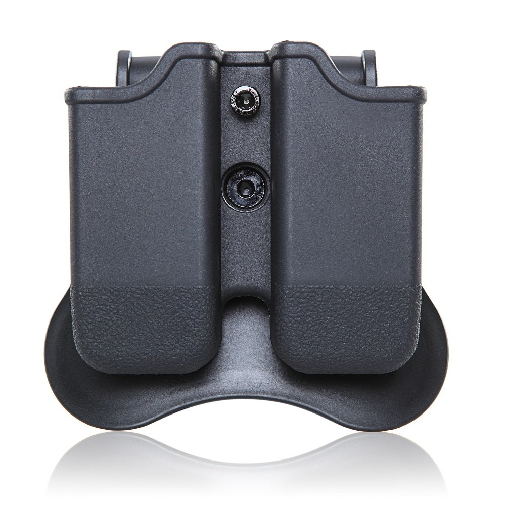 CYTAC Glock Magazine Paddle Pouch, 360 Degree Rotation Double Stack Mag Holder Fit Glock 17 19 22 23 31 32 34 35, Black