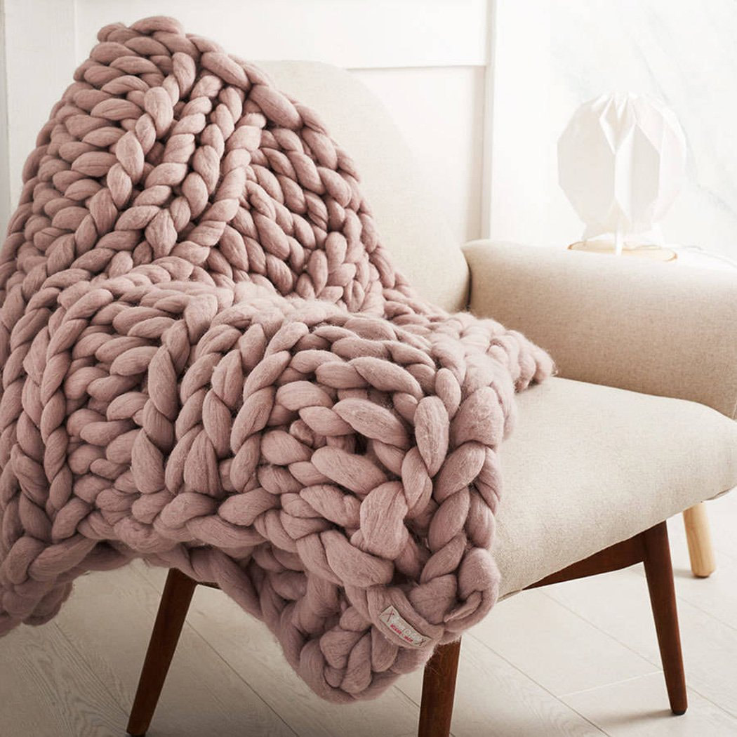 Bonways 120*150CM Handmade Giant Chunky Wool Knit Throw Sofa Blanket Hand-woven Bulky Blanket Home Decor Gift