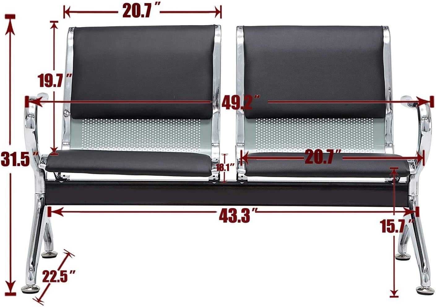 Black Silver walsport 2 Seats Waiting Chair PU Leather Airport Reception Chair for Waiting Room Hospital Bench Office Bank