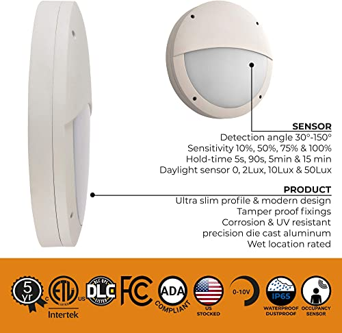 Zip-LED 14.1 Commercial Wall Pack Sconce Bulkhead in White and Opal, Eyelid Fascia with Sensor, 24W 4000K Natural White 2,256 Lumen, 0-10V Dimmable, Waterproof IP65, ETL Listed DLC Certified