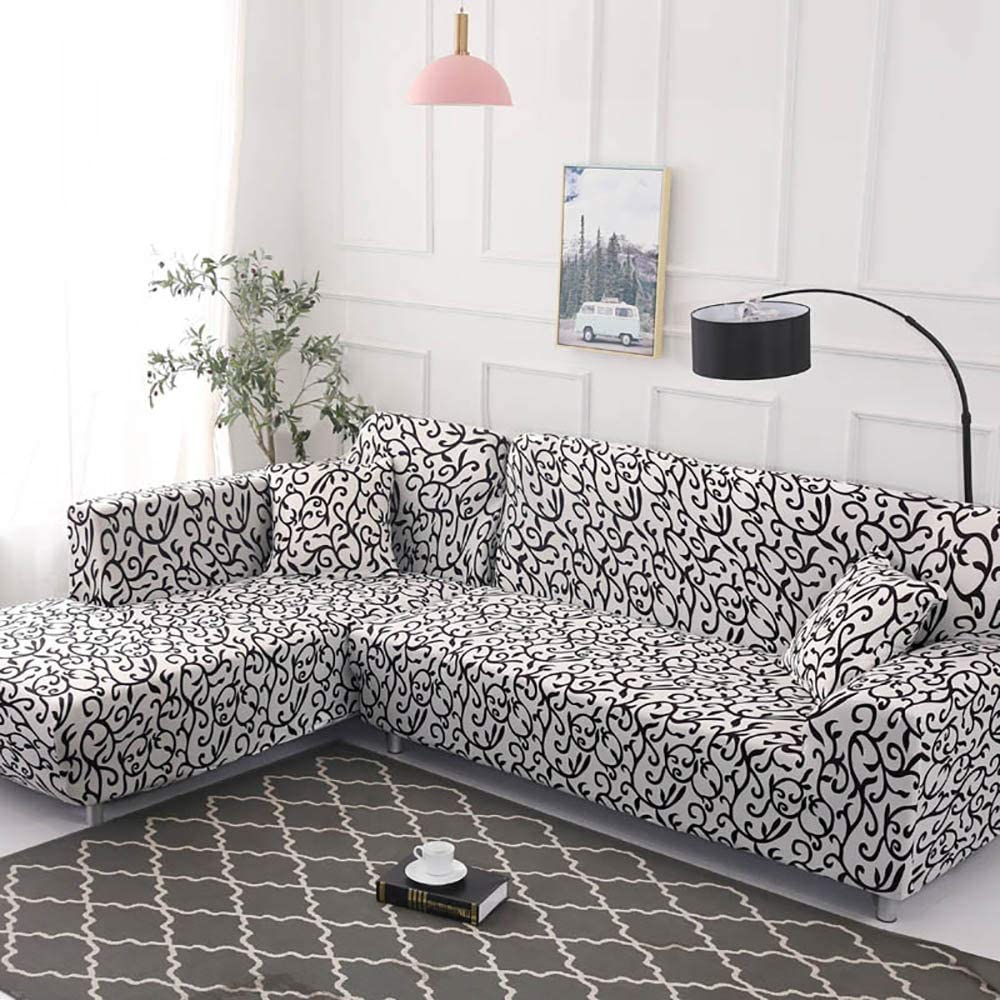 ,Color1-1seat90-140cm RMCKJ Sofa Cover L Shape Sofa Slipcover Stretch Fabric Flower Bird Pattern For L-shape Corner Sectional Sofa Protector For Living Room Needs Order 2 Pieces Covers