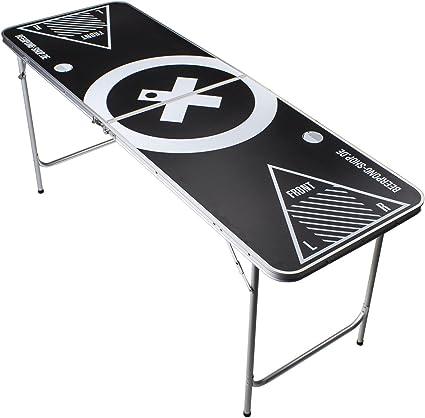 Beer Pong Tisch Set Audio Table Design 6 ft Beer Pong Table inkl. 6 Bälle, 50 Red Beer Cups und Regelwerk