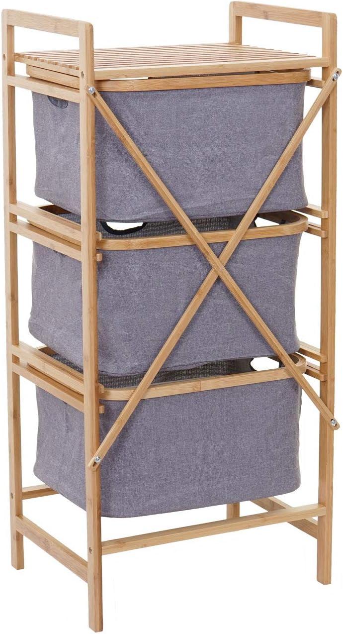 bambou 2 compartiments 74x64x33cm 70 L Linge de collection mcw-b83 Laundry Coffre Panier à Linge