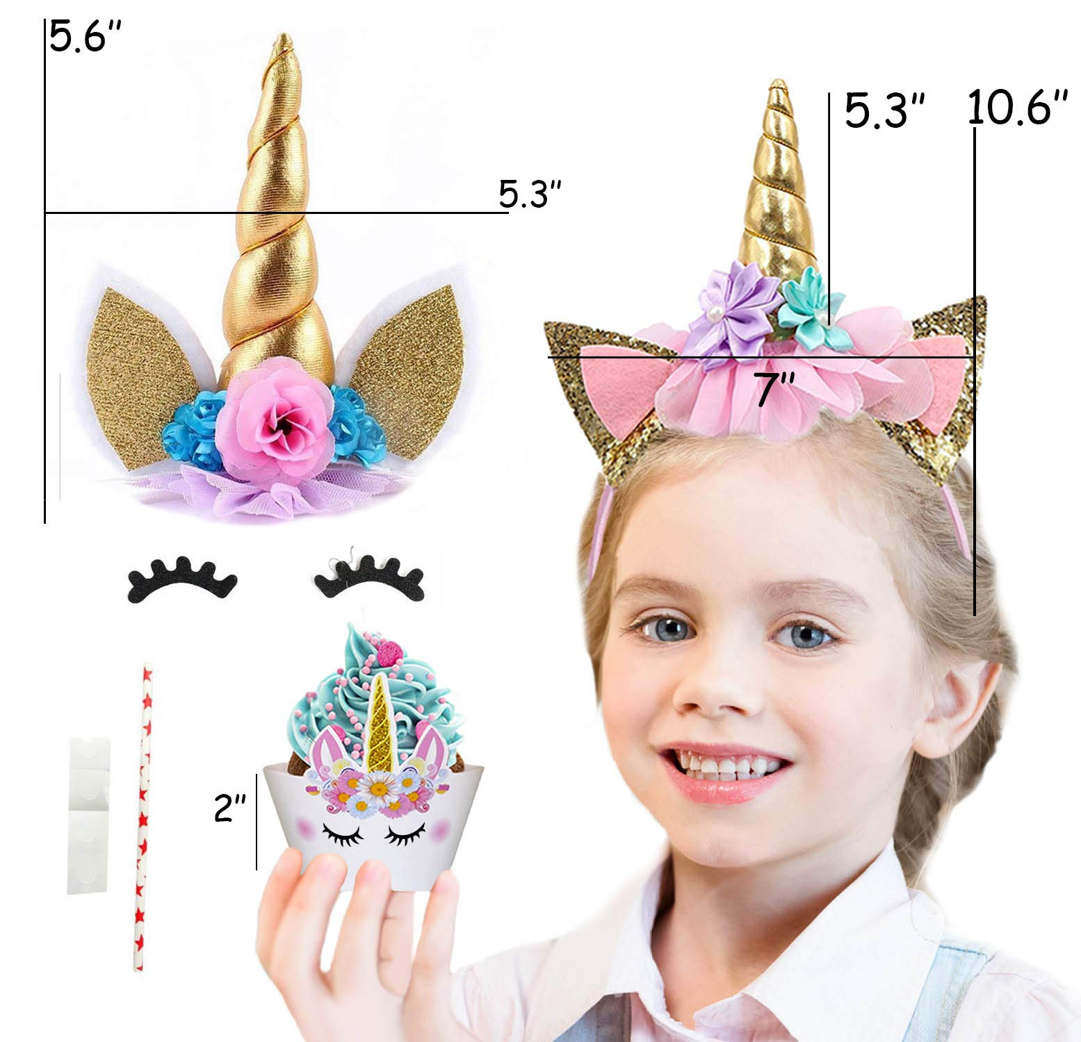 Bestus (29 Pack) Unicorn Cake Topper with Eyelashes, Headband, Cupcake Wrappers and Happy Birthday Banner. / Unicorn… 5