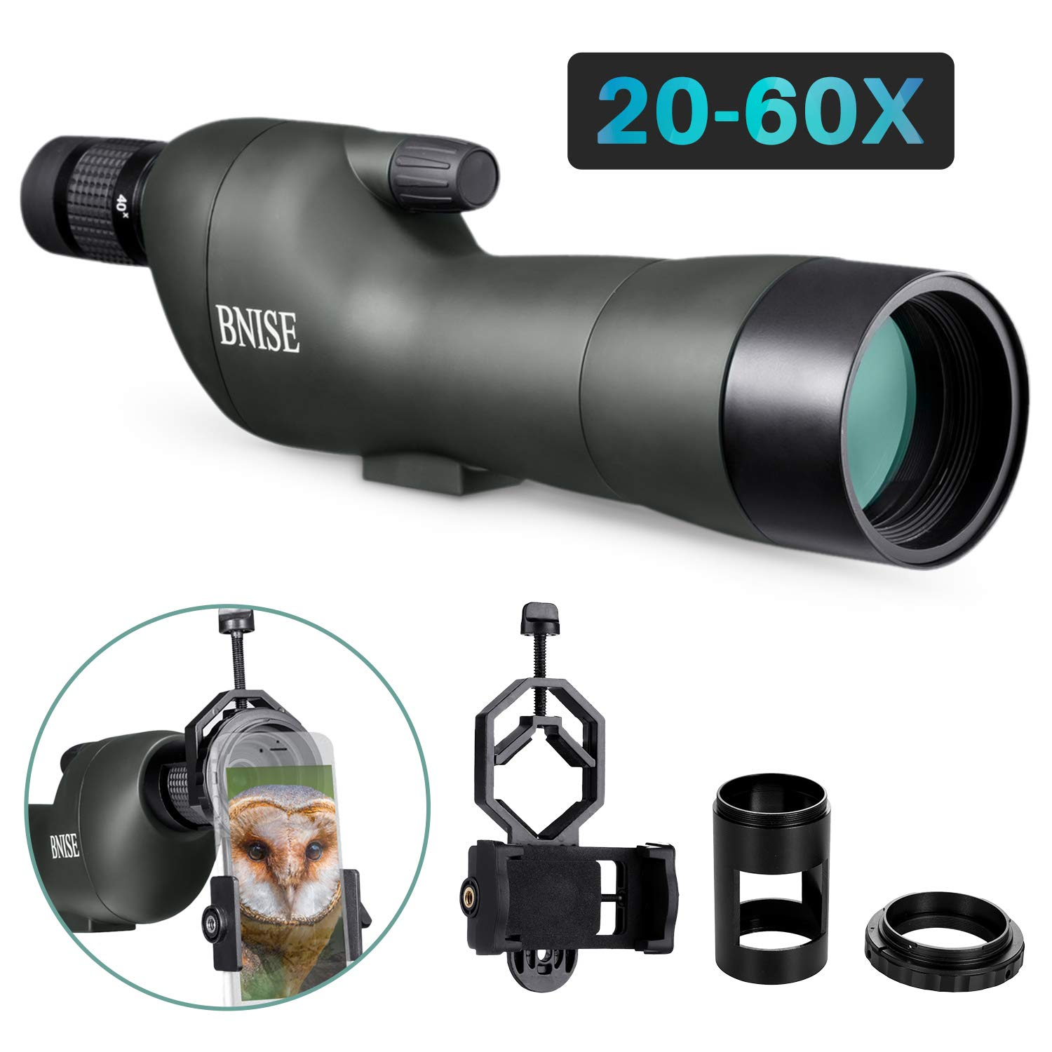 BNISE Spotting Scope – GOMU FMC Optics – 20-60×60 Zoom Monocular Waterproof Telescope – with Tripod for Hunting, Camera and Phone Photography Adapter